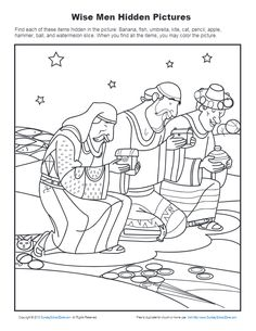 Finding the hidden items in this picture of the wise men gives children a fun activity to do as they learn that the wise men worshiped Jesus. Bible Activities For Kids, Sunday School Activities, Bible Lessons For Kids, Sunday School Lessons, Sunday School Crafts, Bible For Kids, Preschool Lessons, Catholic Kids, Kids Church