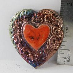 Handmade Folk Art Raku Cabochon Heart by oscarcrow on Etsy, $9.00