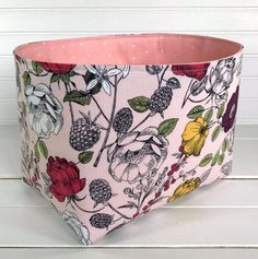 Organizer Basket,Fabric Bin,Storage Bin,Shabby Chic Nursery Decor,Fabric Basket Bin,Flowers,Home Decor,Roses,Blush Pink, Coral Pink