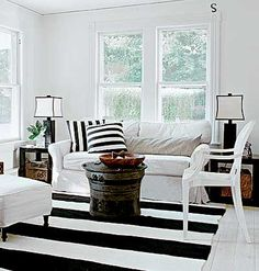 Beach decor and black and white stripes.
