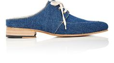 ESQUIVEL Denim Lace-Up Mules. #esquivel #shoes #sandals Denim And Lace, Lace Up, Esquivel, Shoes Sandals, Heels, Up Styles, Smooth Leather, Slip On, Beige