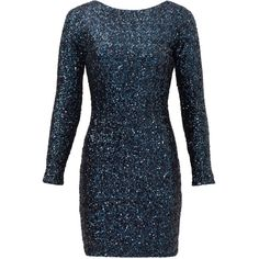 Rental Slate & Willow Alessia Sheath ($55) ❤ liked on Polyvore featuring dresses, blue, long sleeve dress, mesh dress, blue sequin dress, long sleeve sequin dress и sequin dress