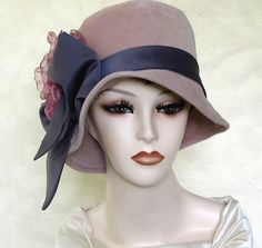 Vintage Flapper Hats for Women | Velvet Vintage Style 1920s Flapper Hat by BuyGail on Etsy