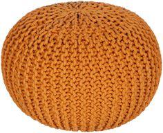 Malmo Solid Orange Sphere Pouf