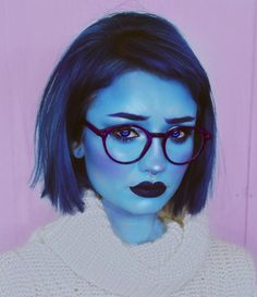 Hallowen Makeup 💙SADNESS💙 I knew I needed to do this look as soon I got these glasses & im. , 💙SADNESS💙 I knew I needed to do this look as soon I got these glasses & im. 💙SADNESS💙 I knew I needed to do this look as soon I got these glasses & . Amazing Halloween Makeup, Halloween Inspo, Halloween Tags, Cute Halloween Costumes, Halloween Looks, Disney Halloween Makeup, Halloween 2019, Happy Halloween, Cosplay Makeup