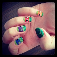 ESPIONAGE COSMETICS - TEENAGE MUTANT NINJA TURTLE NAIL WRAPS - Not only are these simultaneously hilarious and adorable nail wraps far cooler than any drab print Sally Hansen offers, and easier than polish for the ham-handed among us, they come with googly eyes. GOOGLY EYES!