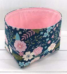 Boho Storage Basket Fabric Storage Bin Organizer Basket | Etsy Fabric Storage Baskets, Pink And White Flowers, Blue Backgrounds, Boho, Unique Jewelry, Handmade Gifts, Etsy, Vintage, Kid Craft Gifts