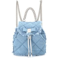 Salvatore Ferragamo Giuliette Quilted Denim Backpack (€1.040) ❤ liked on Polyvore featuring bags, backpacks, denim, purses, blue, blue bag, rucksack bags, salvatore ferragamo, day pack backpack and blue denim backpack