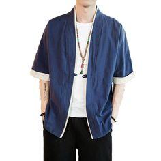X-Future Men Frog Button Plus Size Kimono Loose Chinese Style Cardigan Coat