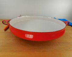 "Dansk France Large 13.5"" Paella Pan - Red/White Enamel Steel Quistgaard - Mid Century Modern"