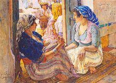 Thé au Jasmin - Lot 38  Alexandre Roubtzoff (1884-1949), Femmes tunisiennes