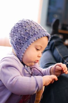 Lilacs for Lila bonnet (free pattern), by Julie Crawford.