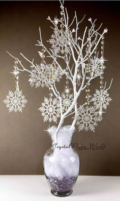 Centerpiece using Snowflake Crystal Garland Chain Strands (Center Pieces)winter wonderland table centerpiece ideas holiday centerpieces for corporate party best winter wonderland centerpieces ideas on winter winter wonderland decorations and winter w Snowflake Centerpieces, Snowflake Garland, Christmas Table Centerpieces, Party Centerpieces, Xmas Decorations, Crystal Garland, Snowflake Party, Snowflake Wedding, White Snowflake
