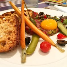 Seasoned beef tartar house made assorted pickles egg yolk croutons #instafood #food #foodcravings #foodie #foodstagram #nomnomnom #yum #yummy #igfood #foodgasm #foodsydney #sydneyfood #sydneyfoodshare #delish #delicious #sydneyfoodblogger #winechatty #winechattypeter @souslesoleilroseville