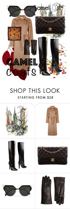 """""""City Walker Camel Coat"""" by bvn01 ❤ liked on Polyvore featuring MaxMara, Emanuel Ungaro, Chanel, Fendi, Brooks Brothers and Hermès"""
