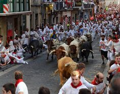 Running of the bulls: The most shocking photographs Pamplona hosts its infamous running of the bulls – part of the annual San Fermin festival – once again  -  July 7, 2017:     Participants run ahead of Cebada Gago's fighting bulls on the first day of the San Fermin bull run festival in Pamplona