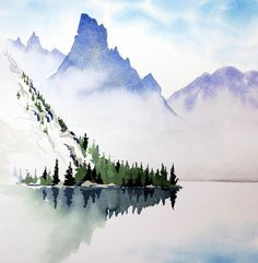 Image result for simplistic watercolor mountains #watercolorarts