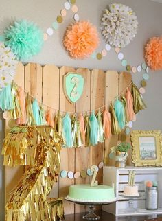 Simply Ciani: Peach, Mint Gold Farm Fresh Birthday Party Like the ball streamer. Girl 2nd Birthday, Gold Birthday, First Birthday Parties, Birthday Party Themes, First Birthdays, Birthday Ideas, Peach Party, Gold Party, Baby Shower