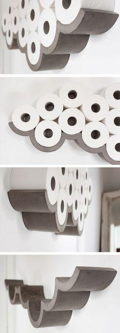 Concrete cloud shaped toilet paper holder! Amazing! #product_design