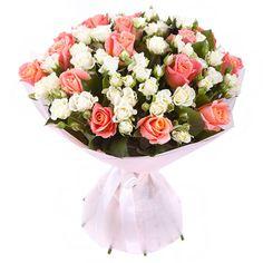 Артикул: 035-295 Состав букета: 19 роз лососевого цвета, 20 веток кустовой розы белого цвета, оформление Размер: Высота букета 50 см Роза: Выращенная в Украине http://rose.org.ua/bukety-iz-roz/1552-buket-prazdnik-ljubvi.html #букеты #букетроз #доставкацветов #RoseLife #flowers #SendFlowers #купитьрозы #заказатьрозы #розыпоштучно #доставкацветовкиев #доставкацветовукраина #срочнаядоставка #заказатьрозыкиев