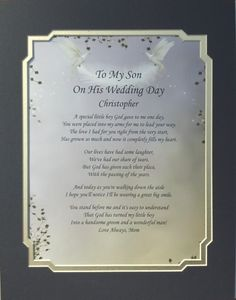 To My Son On His Wedding Day Poem Personalized Gift Ebay