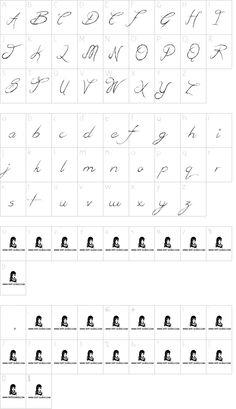 British Quest font character map