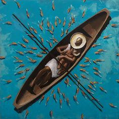 PEDRO RUIZ - Yo pescador - acrílico sobre madera