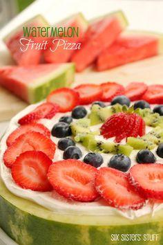 Watermelon Fruit Pizza SixSistersStuff
