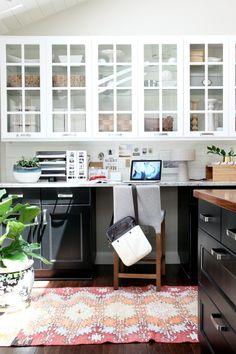 Rehab Diary: An Ikea Kitchen by House Tweaking - Remodelista Kitchen Desk Areas, Kitchen Desks, Black Kitchen Cabinets, Kitchen Office, Ikea Kitchen, Black Kitchens, Home Kitchens, Open Cabinets, Dark Cabinets