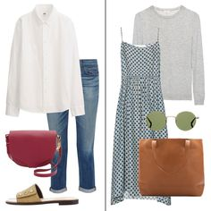 Styling Ideas For Spring | On the weekends, tuck your favorite white shirt into slim denim and roll up the sleeves for a laid-back vibe. For accessories, add a saddlebag in a spring shade and slip on some easy slides or leather sneakers. The cashmere sweater is also great layering option with springtime staples.