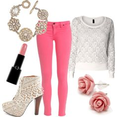 Hot Pink Pants & White Lace Accessories fashion pink lace white summer fashion accessories skinny jeans