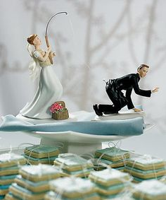 Gone Fishing Caucasian Funny Wedding Cake Topper Bride Groom Set bridel gift BN