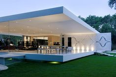 Considered one of Steve Hermann's greatest achievement of a 20-year career is The Glass Pavilion located in Montecito California. Built on a 3.5 acres of private property, this 14,000 square-foot almost entirely glass home is surrounded by lush landscapes. The home has 5 bedrooms, 5 baths, sleek and spacious kitchen with wine room. One of its outstanding features is an integrated art gallery displaying up to 32 vintage cars.