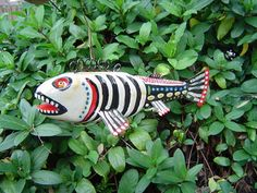day of the dead folkart fish decoy by pasadena gary