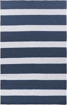 Lagoon Contemporary Navy Ivory PET Yarn Striped Area Rug