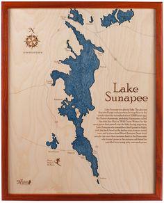 Lake Sunapee 16x20 Wall Chart Padauk Frame by NauticalNorth, $399.00