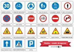Duble – znaki drogowe - Printoteka.pl Montessori, Education, Signs, People, Shop Signs, Sign, Educational Illustrations, People Illustration, Learning