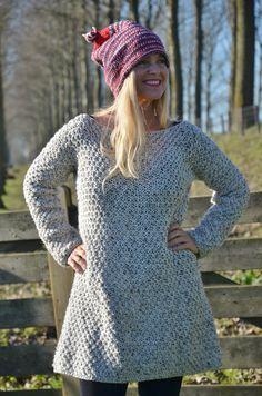 wood & wool pattern knitted sweater dress | wood & wool stool #knit #knitted #dress #pattern
