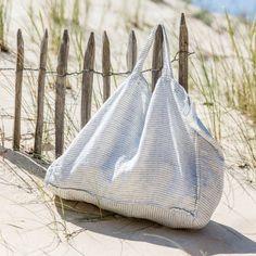 Grand sac cabas en lin rayure pyjama linge particulier sur lepetitflorilege.com