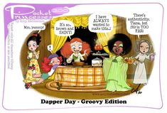 Pocket Princesses No. Dapper Day - Groovy Edition by Amy Mebberson Pocket Princesses, Pocket Princess Comics, Pocket Princess Frozen, Disney Pixar, Disney Fan Art, Disney And Dreamworks, Disney Magic, Disney Marvel, Funny Disney Memes