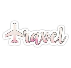 travel text with pink plane Also buy this artwork on stickers phone cases home decor and more. Laptop stickers // Amariei on redbubble Cute Laptop Stickers, Phone Stickers, Cool Stickers, Planner Stickers, Macbook Stickers, Free Printable Sticker, Tumblr Png, Red Bubble Stickers, Tumblr Stickers