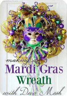 DIY Mardi Gras wreath   Tutorial #mardigras