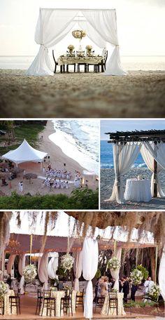 Beautiful beach wedding... love the white tents on the beach!