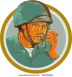 Watercolor style illustration of an american soldier serviceman military calling on radio set inside circle on isolated background.  - stock vector #soldier #watercolor #illustration