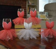 Tutu decorated wine glasses