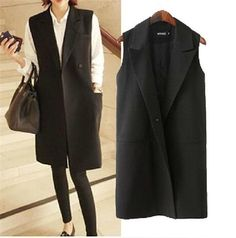 Black women long Gilet jacket blazer covered button sleeveless cool elegant suit #ddd #BasicCoat