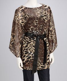 Take a look at this Beige & Black Leopard Cape-Sleeve Tunic - Women by Donna Salyers' Fabulous-Furs on #zulily today!