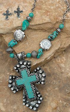 Blazin Roxx® Silver & Turquoise Cross Pendant with Stone & Cross Beads Jewelry Set 30372