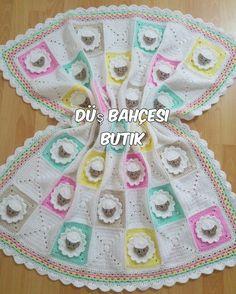 10 Tane Bebek Battaniyesi Modelleri Crochet Afghans, Crochet Stitches Patterns, Crochet Squares, Crochet Granny, Crochet Motif, Baby Blanket Crochet, Embroidery Patterns, Knit Crochet, Manta Crochet