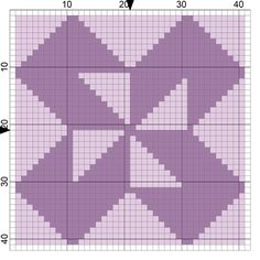 Collection 2 of Free Needlepoint Charts of Popular Quilt Block Designs: Colorado Quilt Block Needlepoint Coaster Pattern